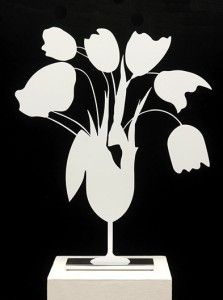 Donald Sultan White Tulips and Vase, April 4, 2014