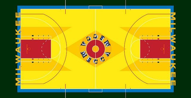 The MECCA basketball floor was designed by Robert Indiana, 1977