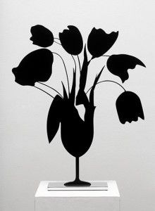 Donald Sultan, Black Tulips and Vase, April 5, 2014