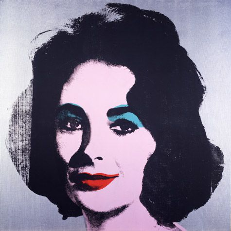 Silver Liz [Ferus Type], 1963, silkscreen ink, acrylic, and spray paint on linen, 40 x 40 in. Silver Liz was produced from a publicity photograph of Elizabeth Taylor from the 1960 film Butterfield 8. The portrait was created at a time when the actress' career was at its pinnacle.