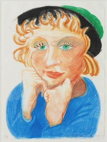 David Hockney, Celia with Green Hat 1984