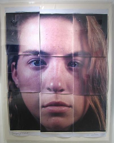 Available at VFA: Chuck Close Georgia 9-Part, 1990 Polaroid Polacolor II prints laid on paper in 9 pcs. 85-1/2 X 46-1/4 in., Unique
