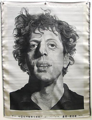 Available at VFA: Chuck Close Phil, 1991, Silk Tapestry 51 X 39 in., Edition of 50