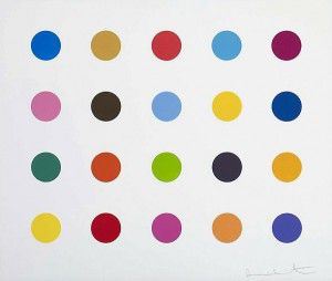 Damien Hirst Esculetin   2012 2-inch woodcut spot Edition of 55 18.5 X 22 in.