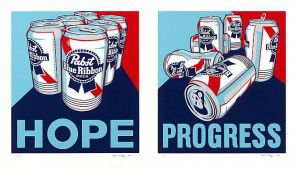 Avaiable at VFA:  Steven Gagnon Two works - Hope and Progress – 2011, Screenprint, 29-1/2 X 26 in. (each sheet), Edition of 100