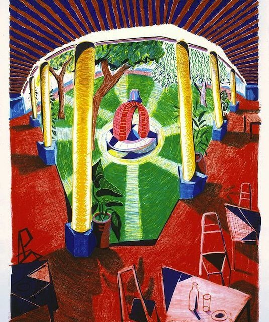 David Hockney View of Hotel Well lll 1985 Lithograph 48.5h X 38w in. Edition of 80 + XVlll AP's