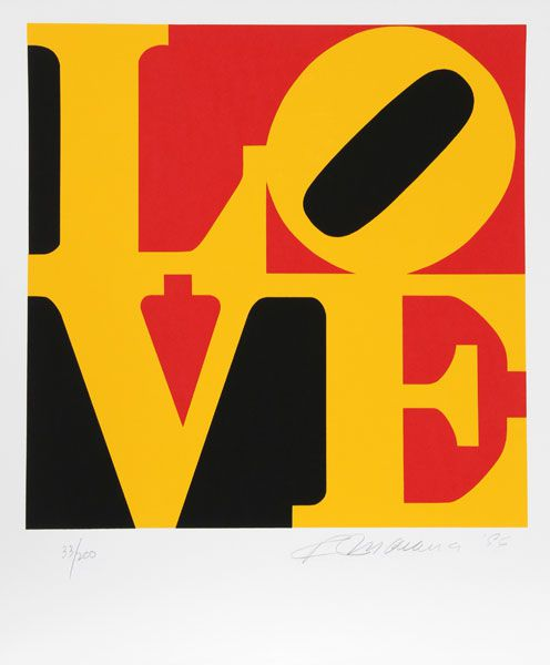 For sale at VFA:  Robert Indiana, Book of Love (German Colors), 1996, Silkscreen, 24 X 20, Edition of 200