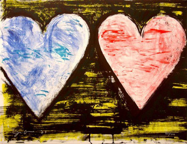 Jim Dine Two Hearts at Sunset - 2005, Lithograph in 10 colors 19-1/2 X 25-1/2 in. Edition of 200