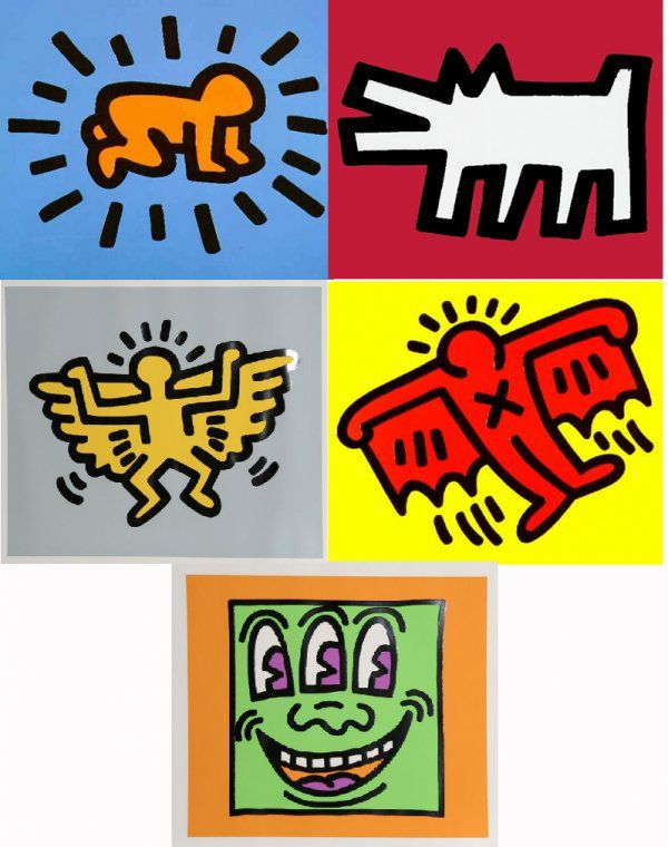 Keith Haring Icons, 1990 Set of five embossed silkscreens, 21 X 25 in. Edition of 250, Estate stamped and authenticated-with the original portfolio case