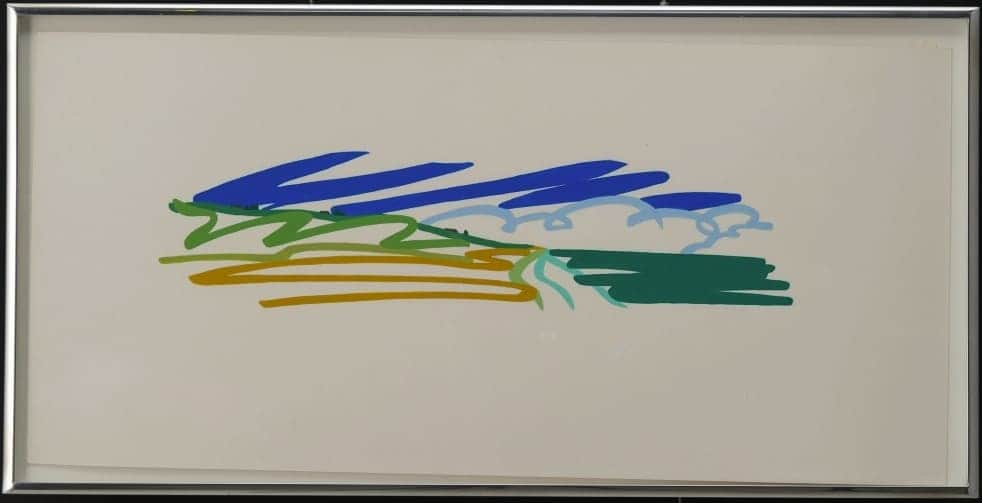 Tom Wesselmann Study for Seascape with Cumulus Clouds and Sky, 1991, Pencil and Liquitex on Bristol board,11 x 23 in.