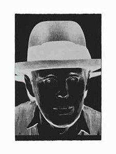 Andy Warhol Joseph Beuys - (F&S II.245), 1980 Screenprint w/white diamond dust on black Arches Cover, 44 X 30 in., Edition of 90