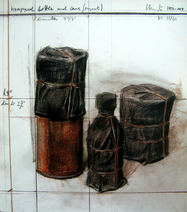 Christo Wrapped Bottles and Cans
