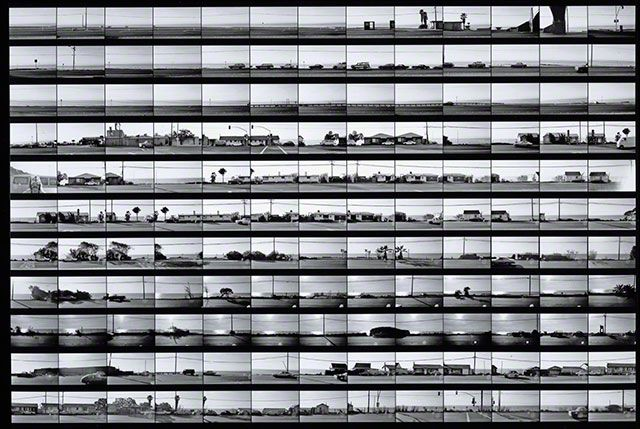Contact sheet for Pacific Coast Highway, negatives 1974, printed later, Ed Ruscha, gelatin silver print. Promised gift of Ed and Danna Ruscha to The Getty Research Institute, 2012.M.2.1. © Ed Ruscha