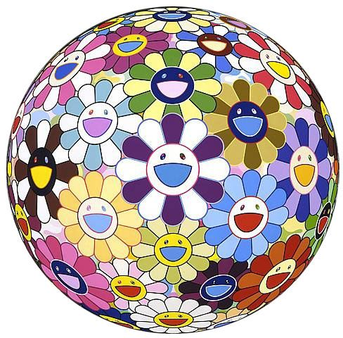 Takashi Murakami Flowerball-3D Kindergarten, 2011 Offset Lithograph w/gold stamp and high gloss finish 28 in. Dia. Edition of 300