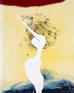 Julian Schnabel, View of Dawn from the Tropics-Bandini (his foe pursued) , 1998 Hand Painted 15-17 Color Screenprint With Poured Resin, 45h x 36w x 0d in