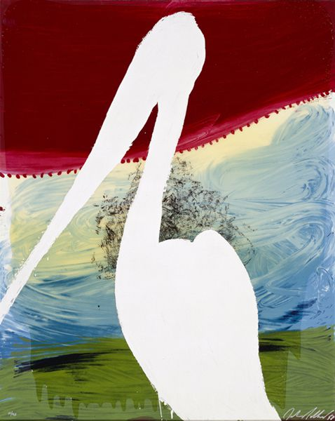 Julian Schnabel View of Dawn from the Tropics-Guiseppe (brooding on the vast abyss), 1998 Hand Painted 15-17 Color Screenprint With Poured Resin, 45h x 36w x 0d in