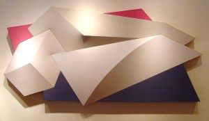 Charles Hinman Sprinter, 1980 Acrylic on segmented, shaped canvas 40 X 79 X 6 in.