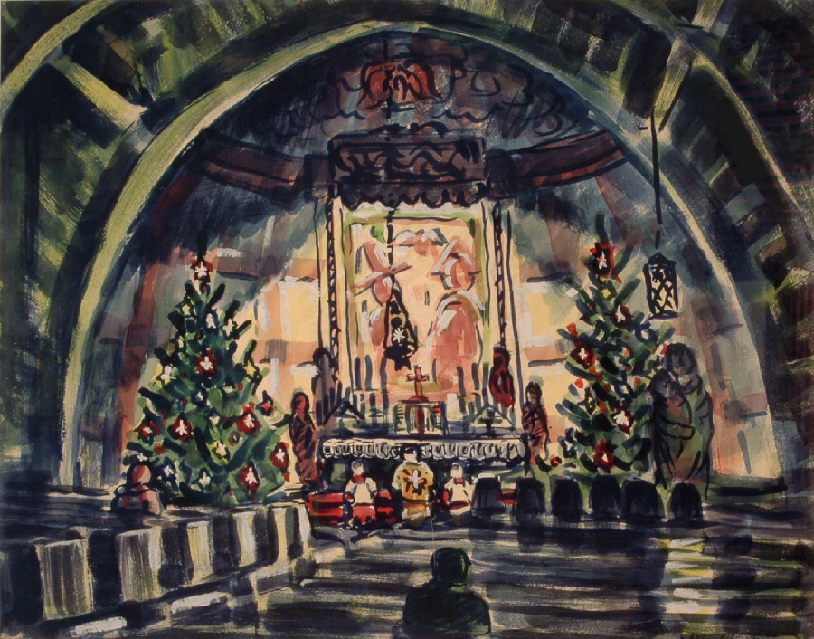 Richard Anuskiewicz Church Across The Street At Christmas, 1946, Watercolor, 15.5 x 19.5 in.