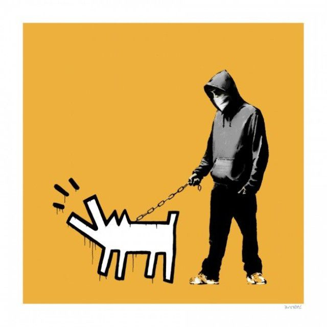 Banksy Choose Your Weapon (Light Orange), 2010 Screenprint 23.62h X 23.62w in. Edition of 25