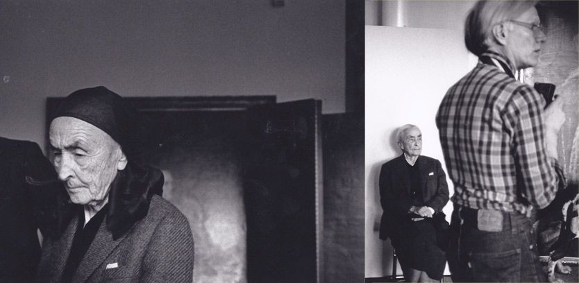 Shots from the Georgia O'Keeffe and Andy Warhol meeting in 1979.