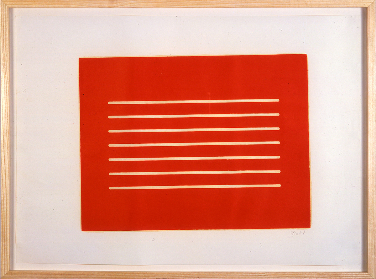Untitled woodcut test print by Roy Judd