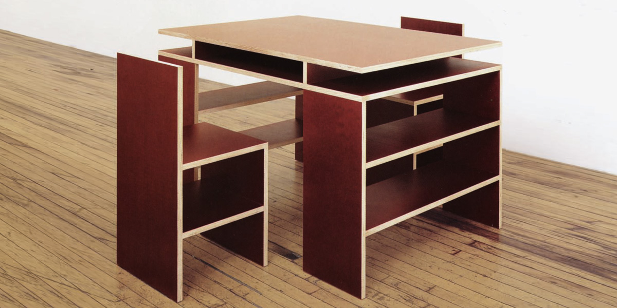Donald Judd Desk and Two Chairs