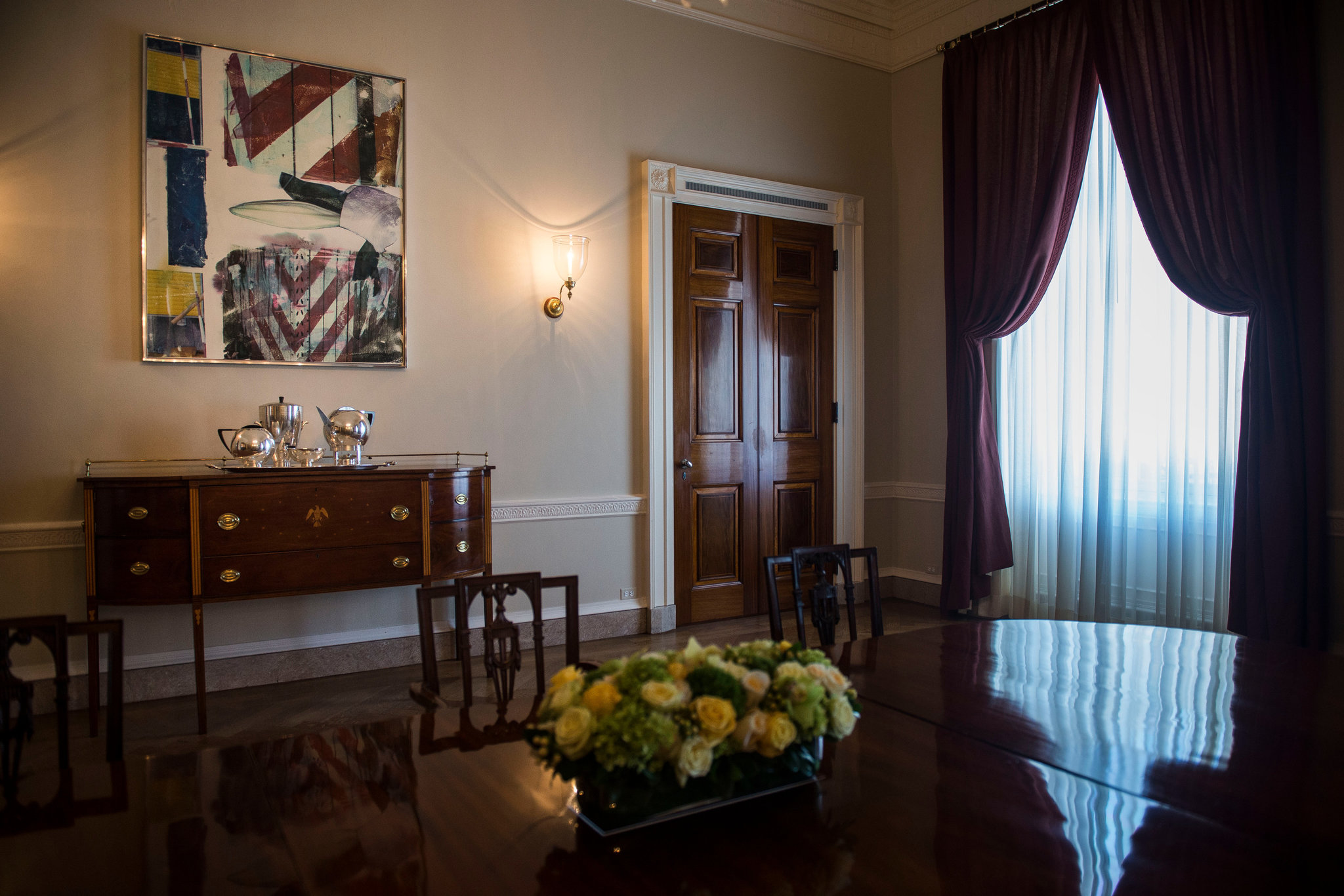Rauschenberg's Early Bloomer in the White House dining room